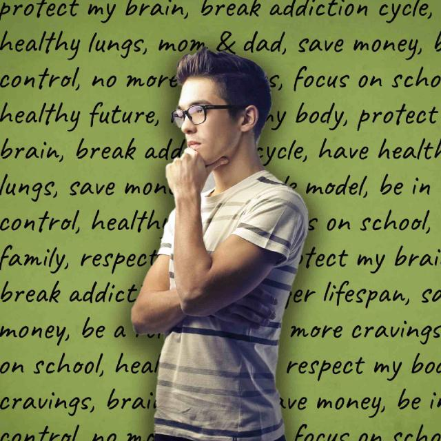 teenage boy in pondering pose staring into distance with list of reasons to quit listed in background, such as friends, health, and family.