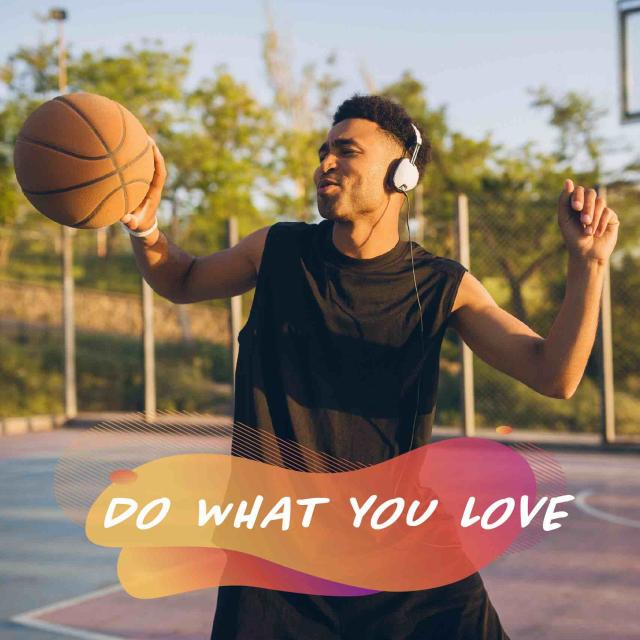 Male teenager dancing on a basketball court with headphones on, holding a basketball. Text reads 'do what you love'