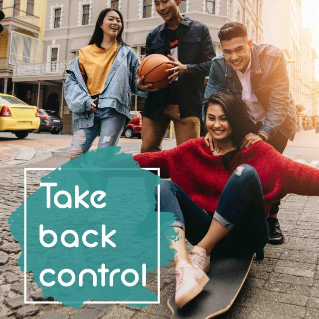 Group of teens riding skateboards down a hill. Text reads 'Take back control'