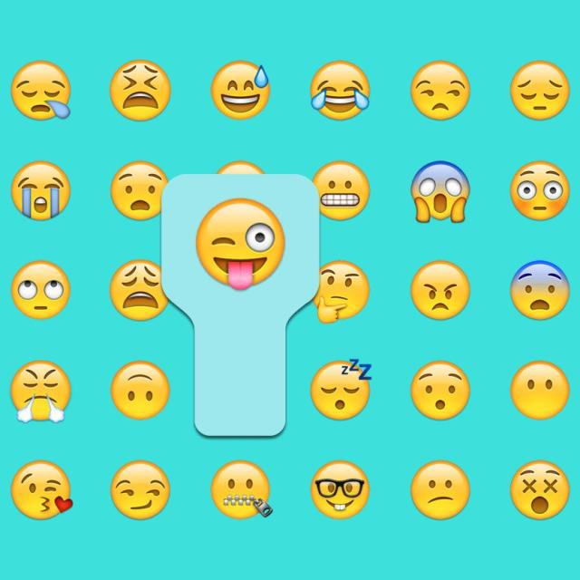 Various emojis with winking happy face highlighted