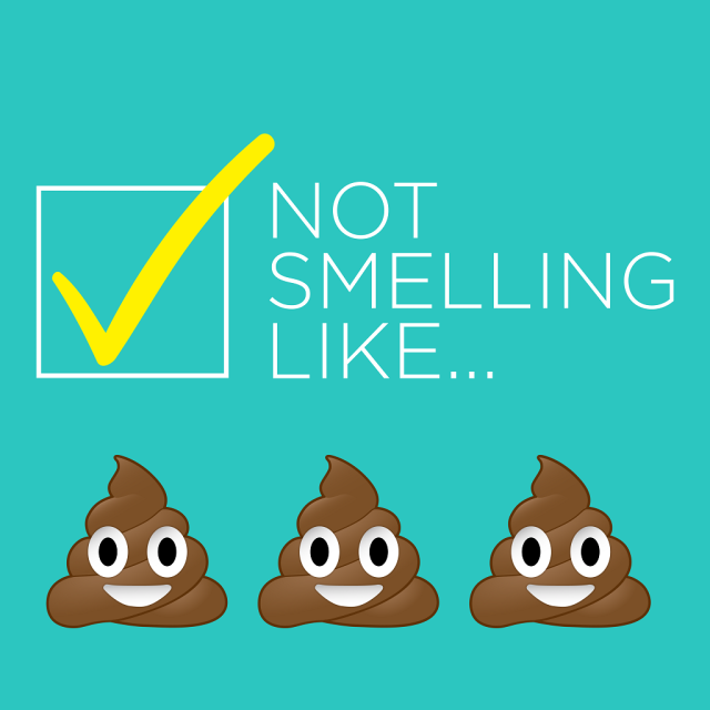 Poop emojis with checked box stating 'not smelling like...'