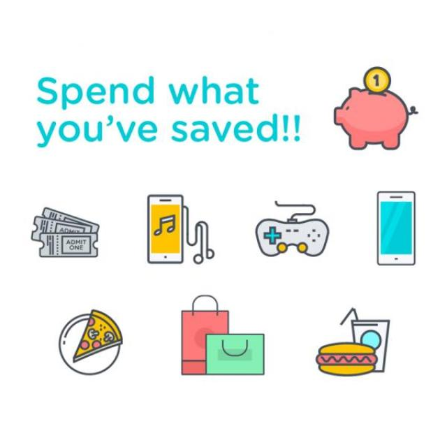 Various images of rewards to buy with smokefree savings such as a video game or a shopping trip with text stating 'spend what you've saved'